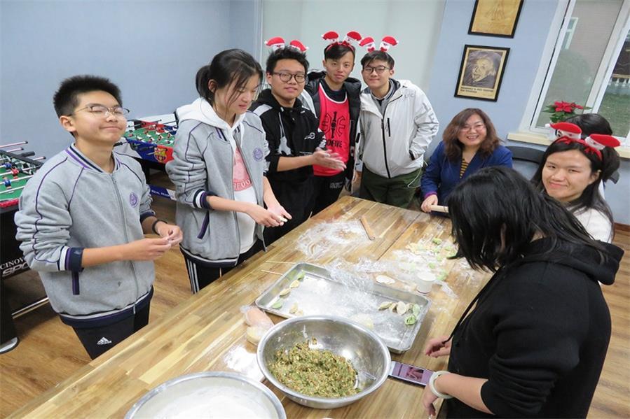 北京清华志清中学国际部包饺子比赛活动