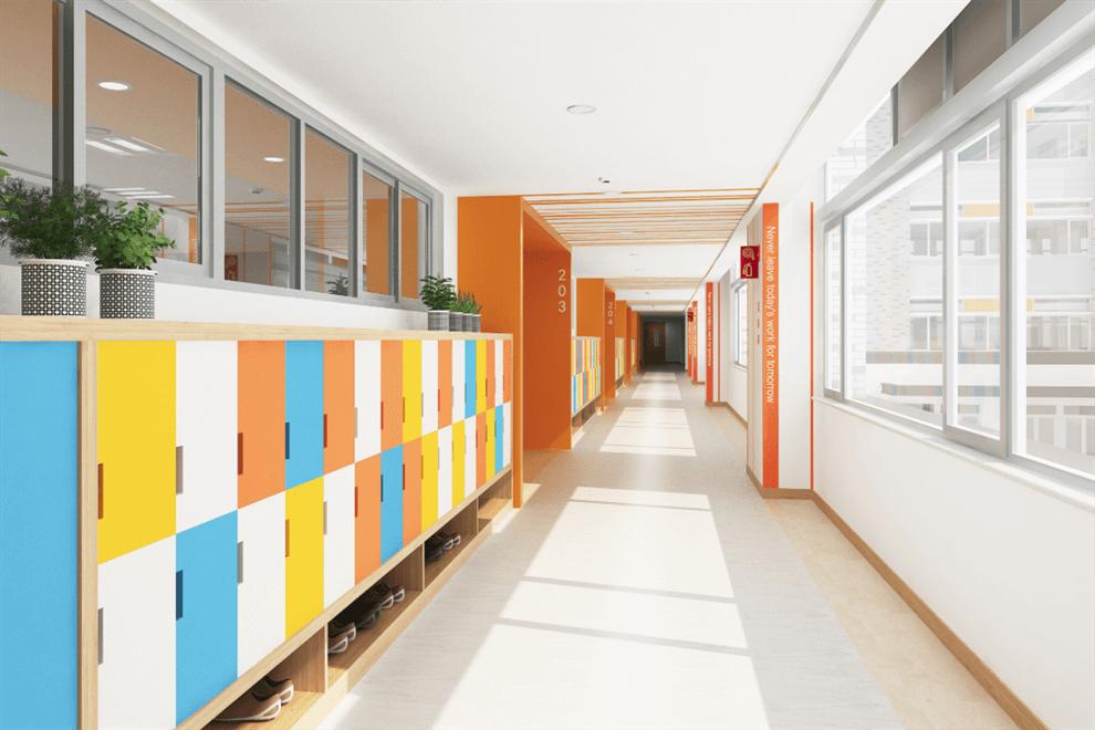 上海青浦区世界外国语学校走廊图集