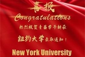 祝贺青苗学子双双斩获纽约大学录取通知书图片