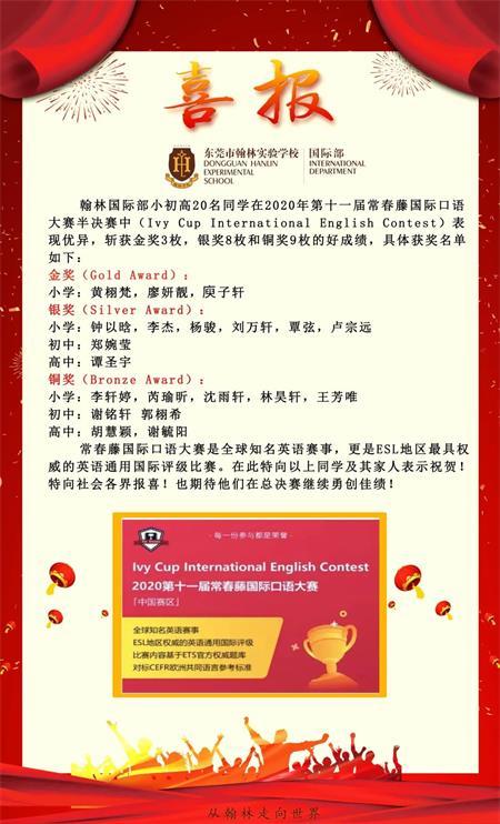 东莞市翰林实验学校国际部学生口语大赛获奖喜报图片